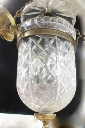 Cut Crystal And Brass Globe Chandelier
