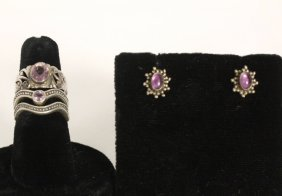 Amethyst And Silver Vintage Jewelry