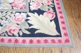 Stark Labeled Needlepoint Wool Floral Carpet