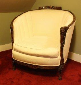 Antique Wood Framed Barrel Chair