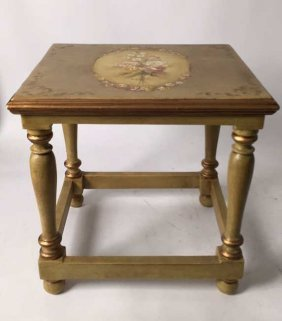 Painted End Side Table Floral Design