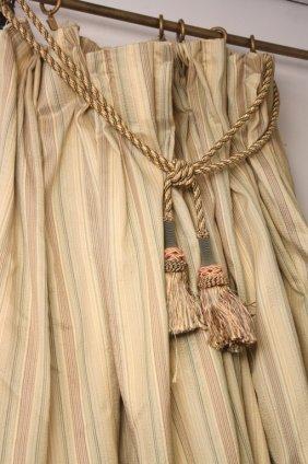 Thin Stripe Pattern Drapes W Tiebacks