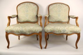 Antique Pair Louis Xv Faute Chairs