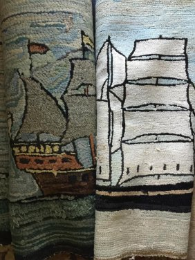 Antique American Hooked Maritime Rugs C. 19th C.
