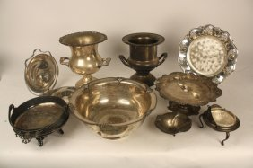 Group Lot Of 9 Silver Items Two Large Sterling