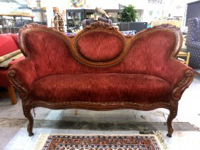 Velvet Upholstered Carved Victorian Antique Sofa