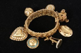 Antique Victorian 14kt Gold Charm Bracelet