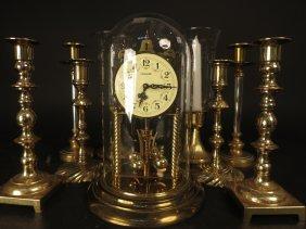 Group 4 Prs Candlesticks 1 Clock Brass