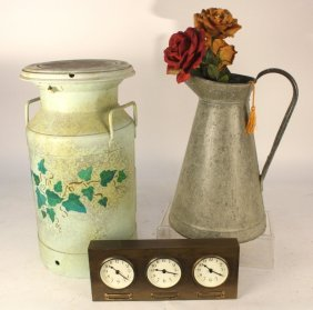 Vintage Milk Can, Pitcher, Wall Clock