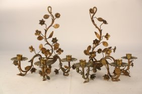 Pair Vintage Candelabra Wall Sconces