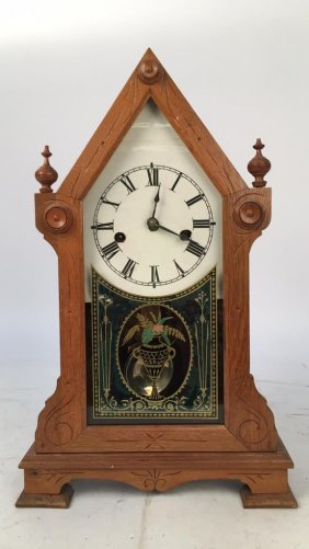 Carved Mantle Clock Oak And Painted Glass