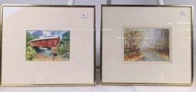 Pair Watercolors Anne Gordon Signed