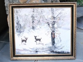 Morris Katz Oil On Canvas Winter Scene