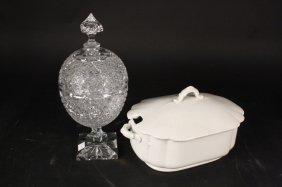 Vintage Hand Cut Crystal Lidded Egg Vase & Tureen