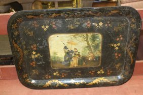 Antique Hand Painted Tole Tray With Stand