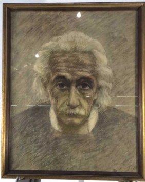 Albert Einstein Portrait Graphite On Board