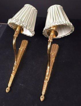 Pair Brass Sconces With Custom Stripe Shades