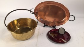 Pottery Barn Copper Tray And Brass Bucket