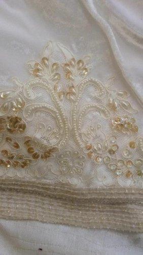 Custom White Silk Beaded Sequined Bed Spread
