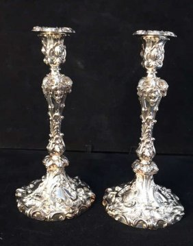 Stamped 8396 Silver Rams Head Design Candlesticks
