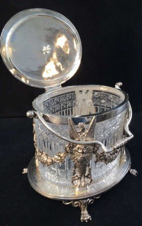 Victorian Silver C 1880 & Cut Crystal Biscuit Box