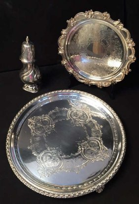 Group Lot Two Salvers & Sugar Caster 19th Century