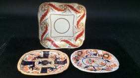 3 Antique Colorful 19th C Dishes Teapot Stands