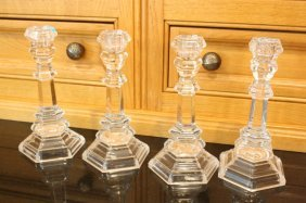 Four Tiffany And Co Signed Crystal Candles Sticks