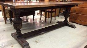 Vintage Twin Pedestal Mahogany Library Table