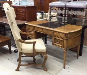 Leathertop Desk And Armchair