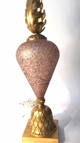 Vintage Decorative Table Lamp With Feathered Stem This