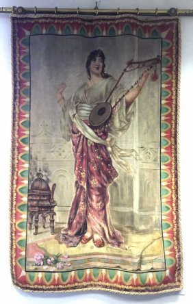 Hand Painted Tapestry Woman Playing Lute Probably