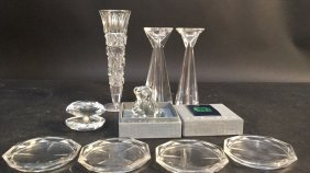 Crystal Group Lot With Steuben Bear Signed Various