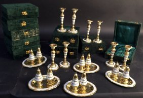 Group Lot Candlesticks And Salt Pepper Shakers Gold