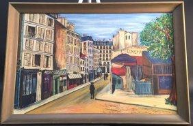 A. Falkenburg Signed Oil Painting Framed City Or Urban