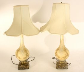 Pair Of White Vintage Glass Ornate Lamps Pair Of White