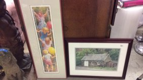 2 Framed Prints Cottage And Children First Print