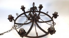 Vintage Wrought Iron Chandelier Electric Wired Six Bulb