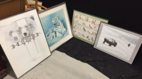 Group Lot Animal Themed Art Work Prints And Signed