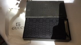 Gucci Leather Fabric Wallet W Box And Carry Bag