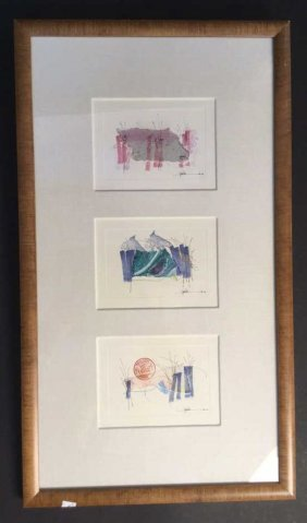 Mixed Media Signed Triple Artwork Mixed Media Signed