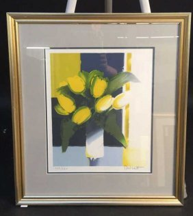 Yellow Tulips Silver Framed Signed Yellow Tulips Silver