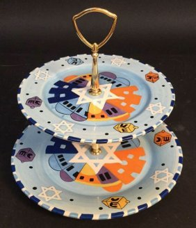 Jewish Star Plate Blue Jewish Star Plate Blue, Double