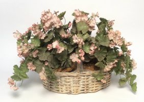 Woven Basket With Pink Silk Flowers Woven Basket With