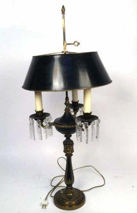 Vintage Three Bulb Ornate Lamp With Crystals Vintage
