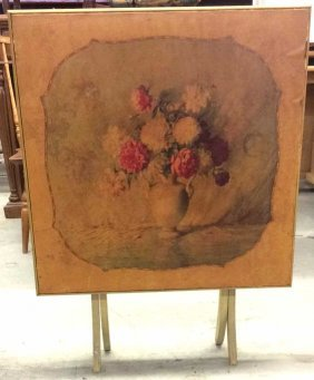 Decorative Fold Down Table With Flower Design