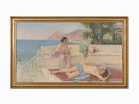 Sergei Semenovitch Egornov, Roman Bathers, Oil On