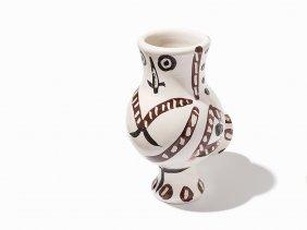 Pablo Picasso, 'chouette Aux Traits', Ceramic Vase,