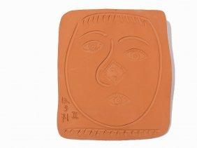 Pablo Picasso, 'visage Au Nez Rond', Ceramic Plaque,