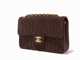 Chanel, Quilted Brown Suede Single Flap Bag, C.1993